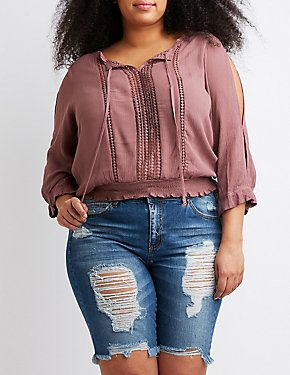 Plus Size Cold Shoulder Top