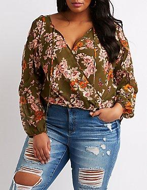 Plus Size Floral Surplice Top