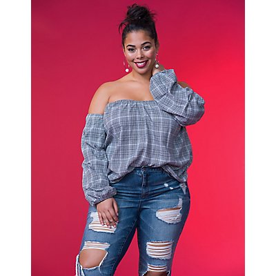 Plus Size Plaid Off-The-Shoulder Top