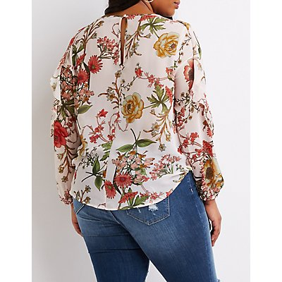 Plus Size Floral Tiered Sleeve Surplice Top