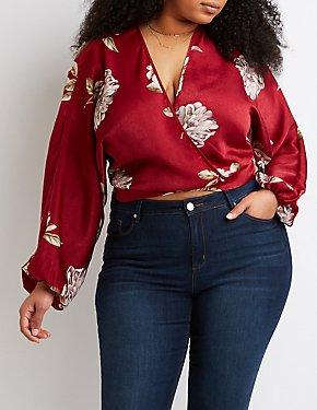 Plus Size Floral Back-Tie Crop Top