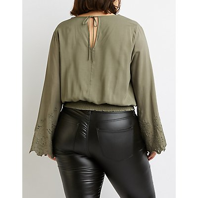 Plus Size Surplice Eyelet-Trimmed Bell Sleeve Top