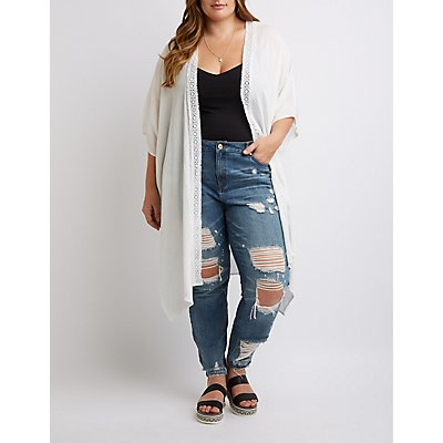Plus Size Crochet-Trimmed Open-Front Kimono