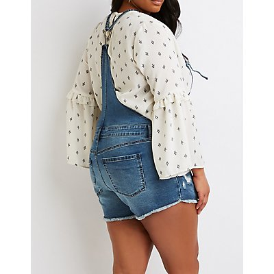 Plus Size Frayed-Trimmed Overalls