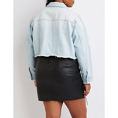 Plus Size Refuge Destroyed Crop Denim Jacket