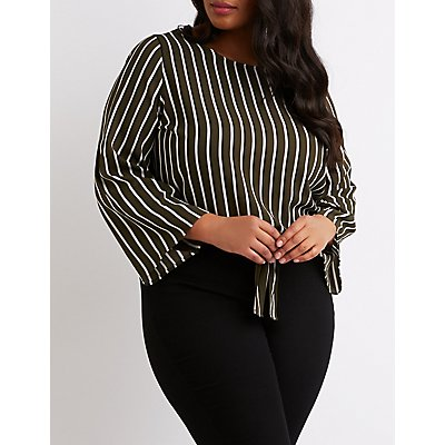 Plus Size Striped Front-Tie Top