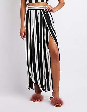 Striped Split Leg Palazzo Pants