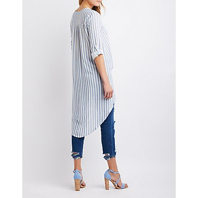 Striped Lace-Up High-Low Tunic Blouse