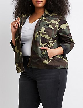 Plus Size Camo Anorak Cropped Jacket