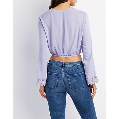 Crochet-Trim Lace-Up Crop Top