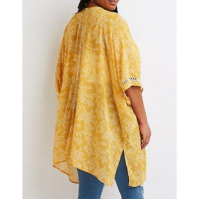Plus Size Floral Print Duster Kimono
