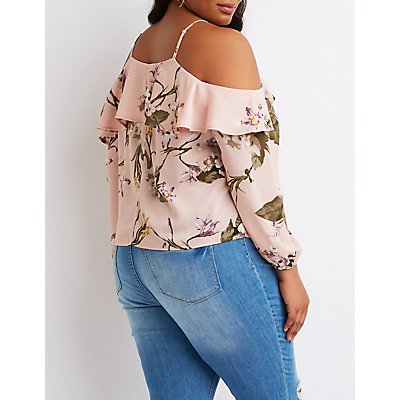 Plus Size Floral Ruffle-Trim Cold Shoulder Top
