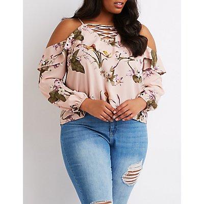 Plus Size Floral Ruffle-Trim Cold Shoulder Top