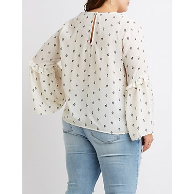 Plus Size Lace-Up Bell Sleeve Top