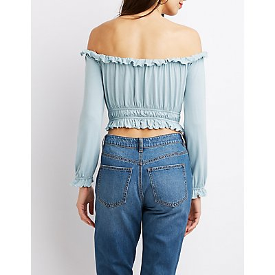 Ruched Off-The-Shoulder Crop Top
