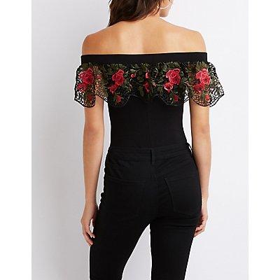 Floral Embroidered Off-The-Shoulder Bodysuit