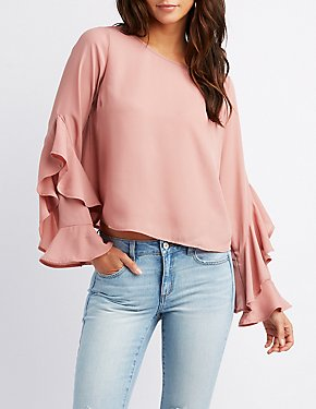 Ruffle-Trim Bell Sleeve Top