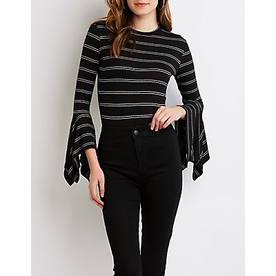 Striped Flared Sleeve Top