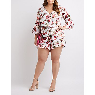 Plus Size Floral Bell Sleeve Romper