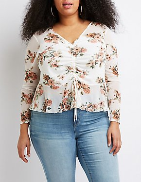 Plus Size Floral Ruched Crop Top