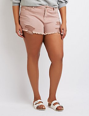 Plus Size Refuge Destroyed Hi-Rise Cheeky Shorts