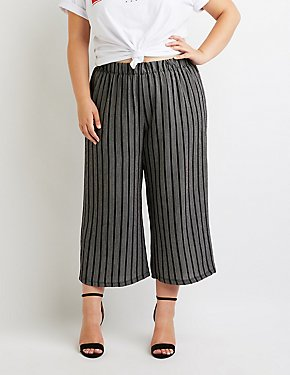 Plus Size Cropped Striped Wide Palazzo Pants