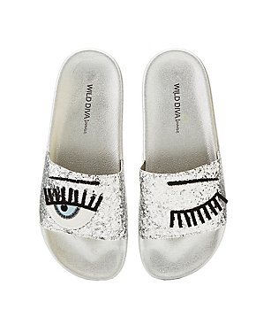 Eye Wink Glitter Slide Sandals