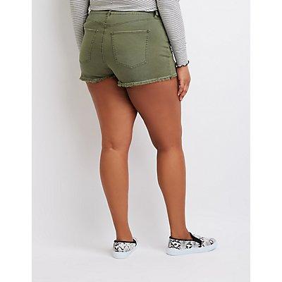 Plus Size Refuge Destroyed Hi-Rise Cheeky Shorts