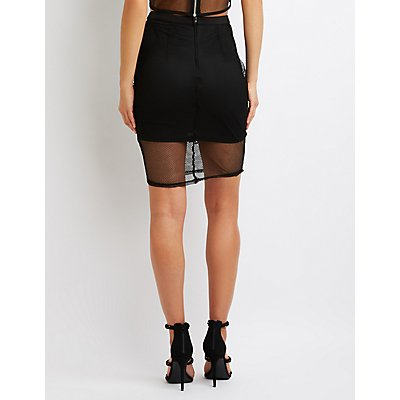 Floral Applique Mesh Bodycon Midi Skirt