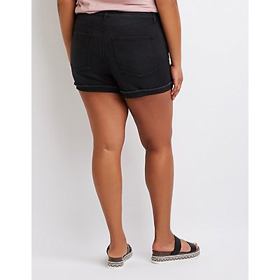 Plus Size Refuge Destroyed Girlfriend Shorts