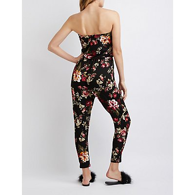 Floral Off The Shoulder Drawstring Jumpsuit