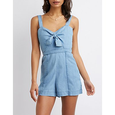 Chambray Bow-Detailed Romper