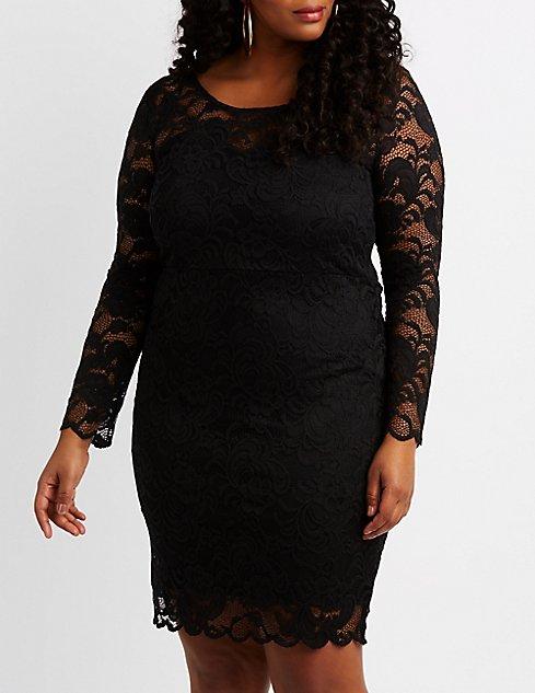 Plus Size Scalloped Lace Bodycon Dress Charlotte Russe