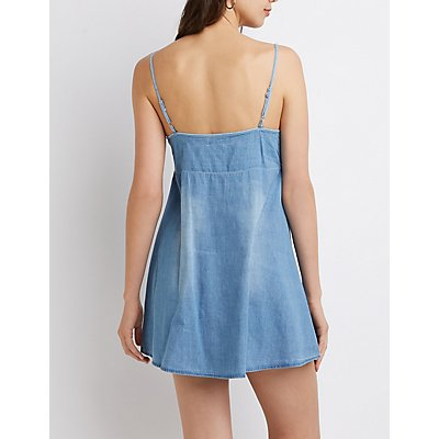Chambray Front-Tie Dress