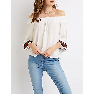 Floral Embroidered Smocked Off-The-Shoulder Top