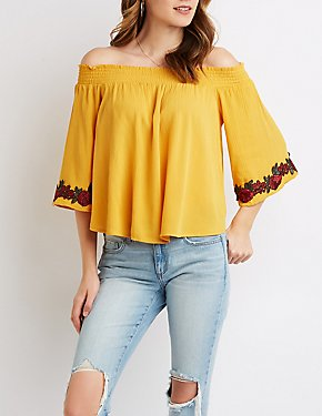 Floral Embroidered Smocked Off-The-Shoulder Top