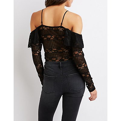 Lace Cold-Shoulder Bodysuit