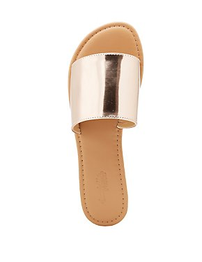 Metallic Faux Leather Slide Sandals