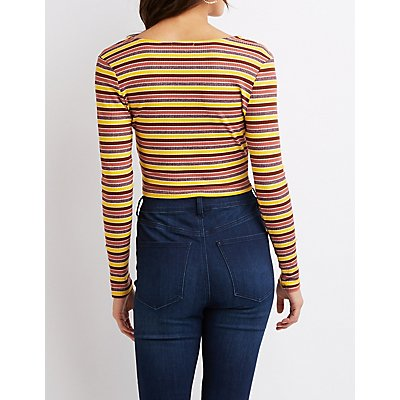 Striped Ribbed Knit Knot Crop Top