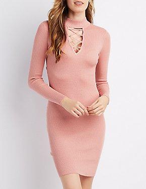 Mock Neck Lattice Bodycon Dress