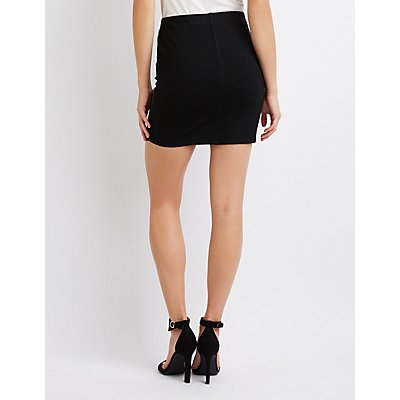 Faux Leather Asymmetrical Mini Skirt