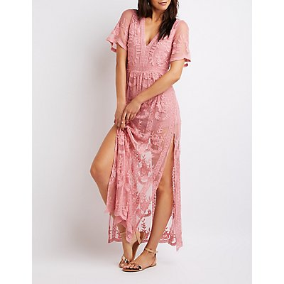 Embroidered Floral Mesh Maxi Romper
