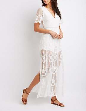 Floral Mesh Embroidered Maxi Romper
