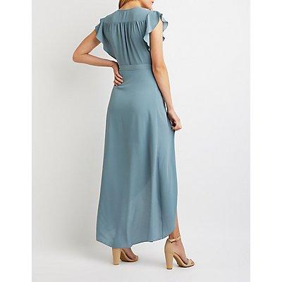 Ruffle-Trimmed Maxi Wrap Dress