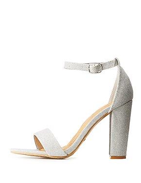 Bamboo Two-Piece Glitter Dress Sandals