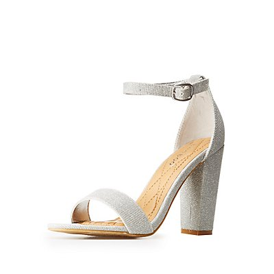 Bamboo Two-Piece Glitter Dress Sandals