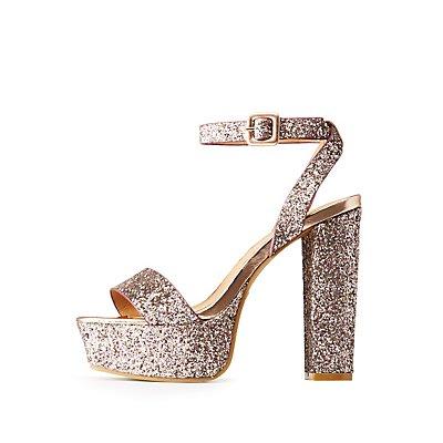 Bamboo Glitter Platform Ankle Strap Sandals