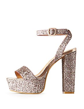 Bamboo Glitter Platform Two-Piece Sandals