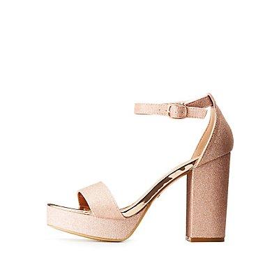 Bamboo Glitter Ankle Strap Platform Sandals