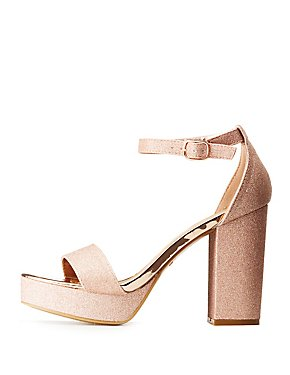 Bamboo Glitter Two-Piece Platform Sandals